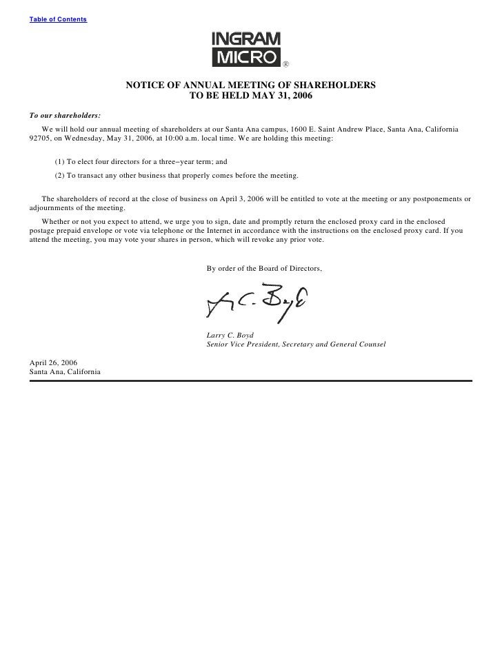 Table of Contents                                  NOTICE OF ANNUAL MEETING OF SHAREHOLDERS                               ...