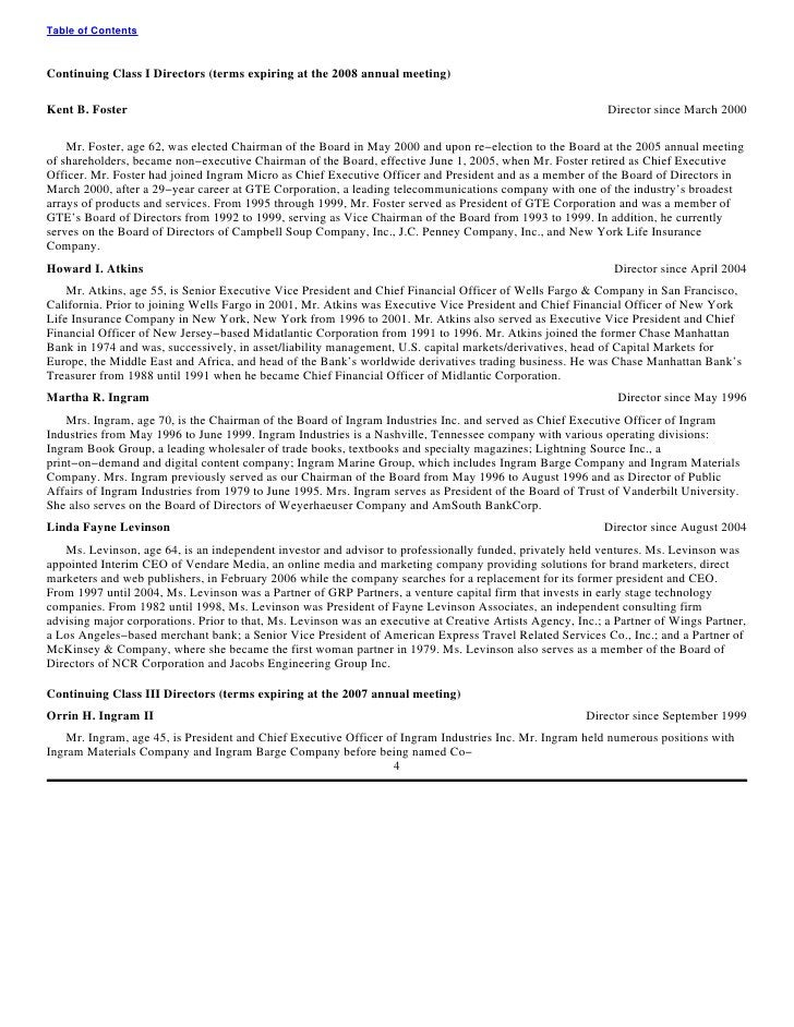 Table of Contents    Continuing Class I Directors (terms expiring at the 2008 annual meeting)  Kent B. Foster             ...