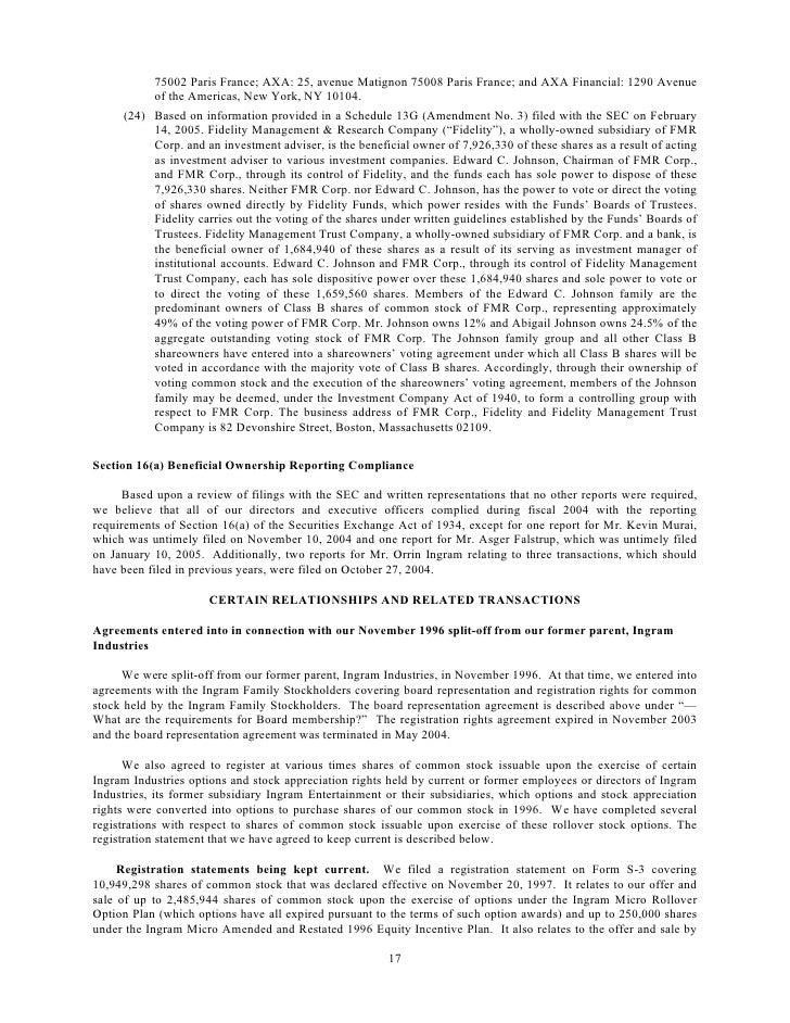 Ingram Micro Proxy Statement 2004