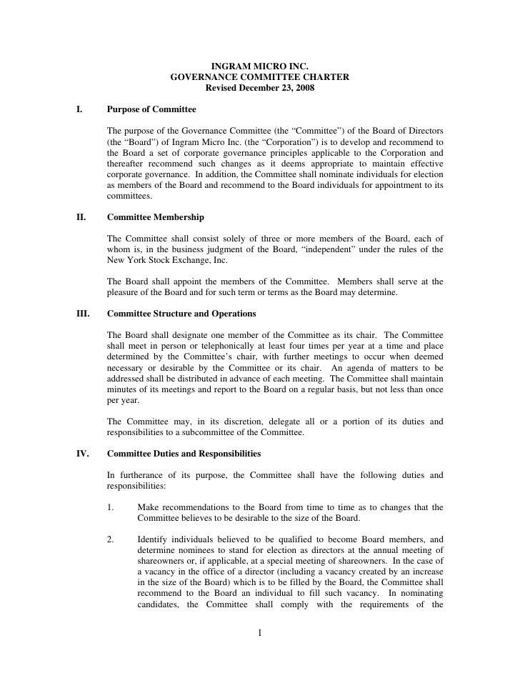 INGRAM MICRO INC.                        GOVERNANCE COMMITTEE CHARTER                             Revised December 23, 200...