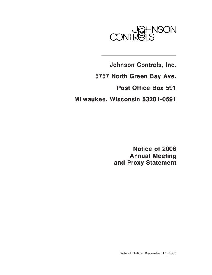 Johnson Controls, Inc.       5757 North Green Bay Ave.             Post Office Box 591 Milwaukee, Wisconsin 53201-0591    ...