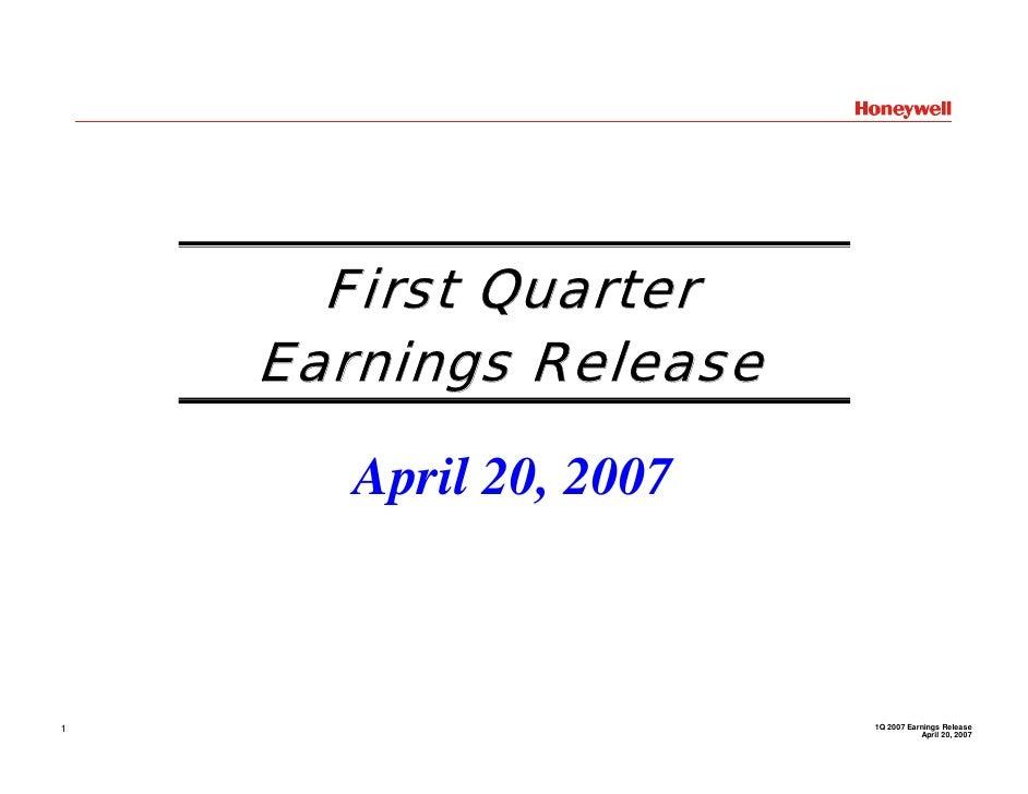 First Quarter     Earnings Release         April 20, 2007                            1Q 2007 Earnings Release 1           ...