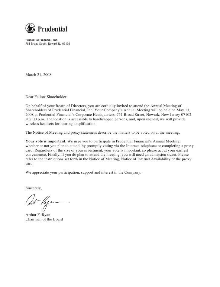 Prudential Financial, Inc. 751 Broad Street, Newark NJ 07102     March 21, 2008     Dear Fellow Shareholder:  On behalf of...