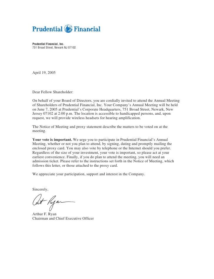 Prudential Financial, Inc. 751 Broad Street, Newark NJ 07102     April 19, 2005    Dear Fellow Shareholder:  On behalf of ...