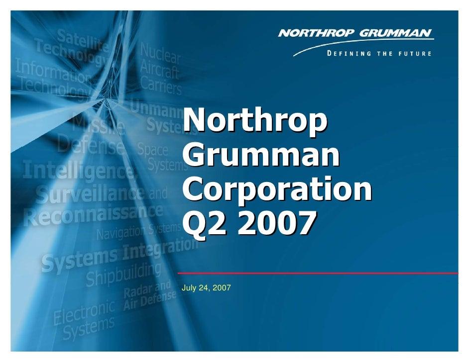 Northrop Grumman Corporation Q2 2007 July 24, 2007