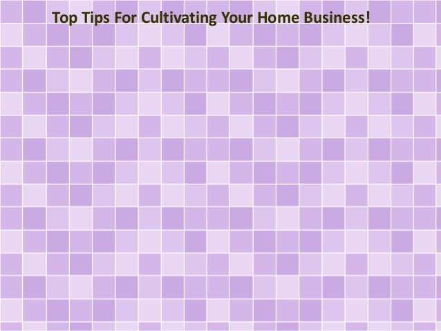 Top Tips For Cultivating Your Home Business!