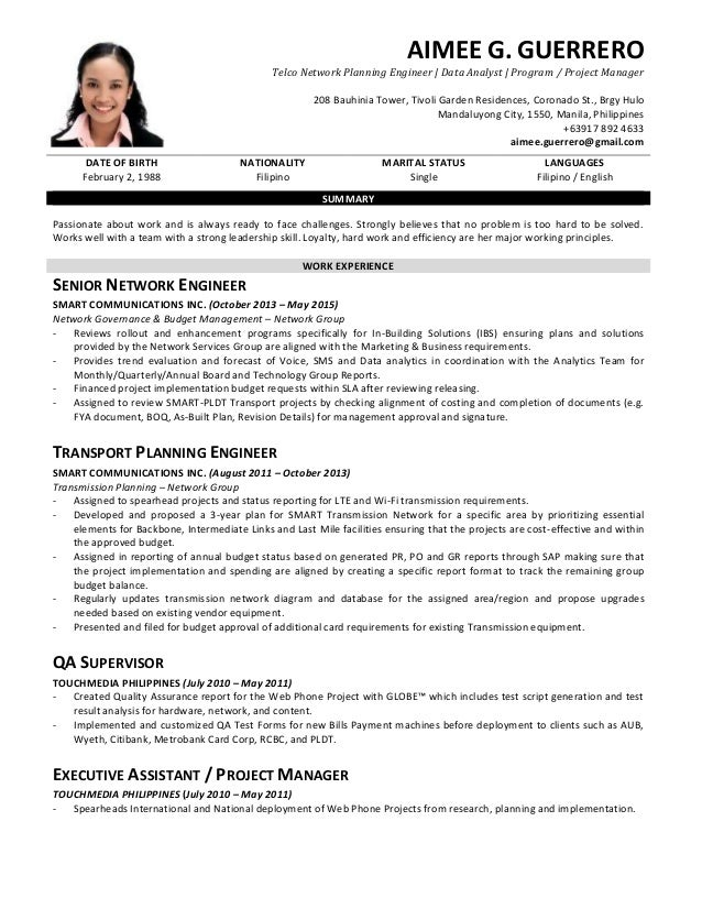 cv guerrero  aimee g  network planning engineer - data analyst