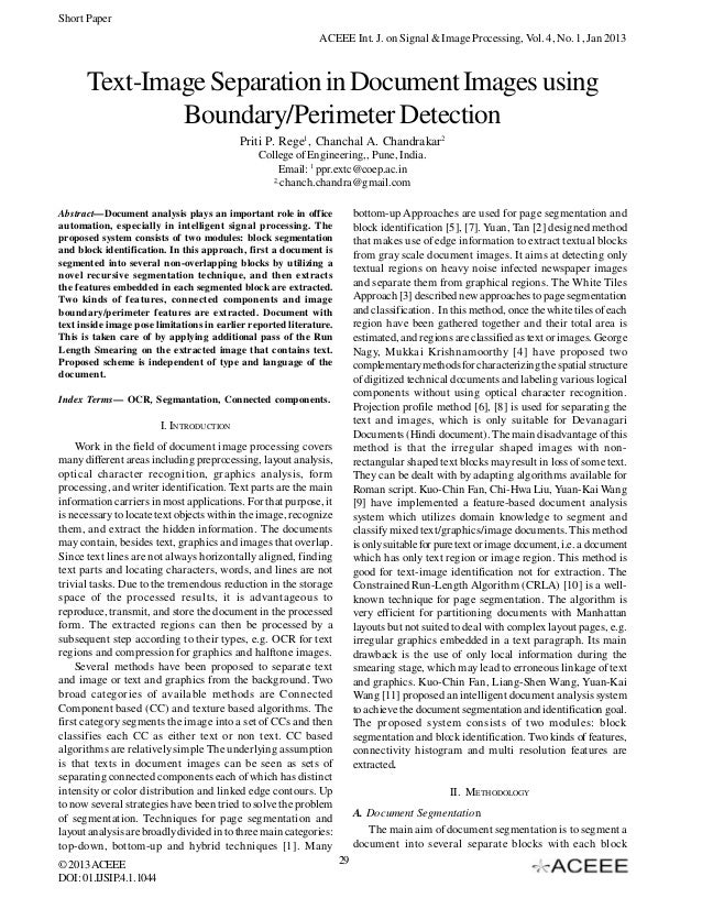 Short Paper ACEEE Int. J. on Signal & Image Processing, Vol. 4, No. 1, Jan 2013  Text-Image Separation in Document Images ...