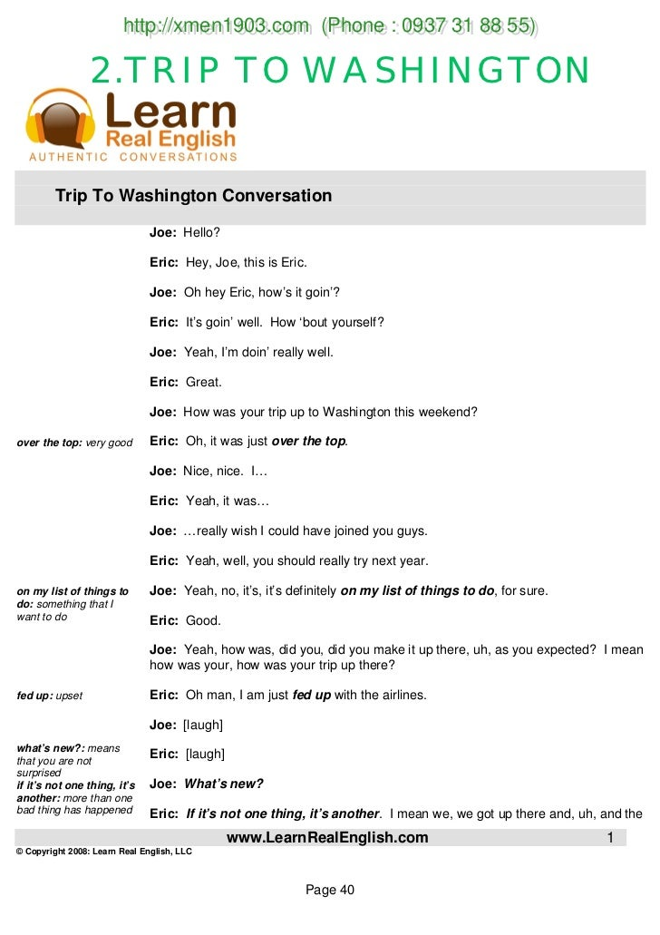 Learn english conversation practice