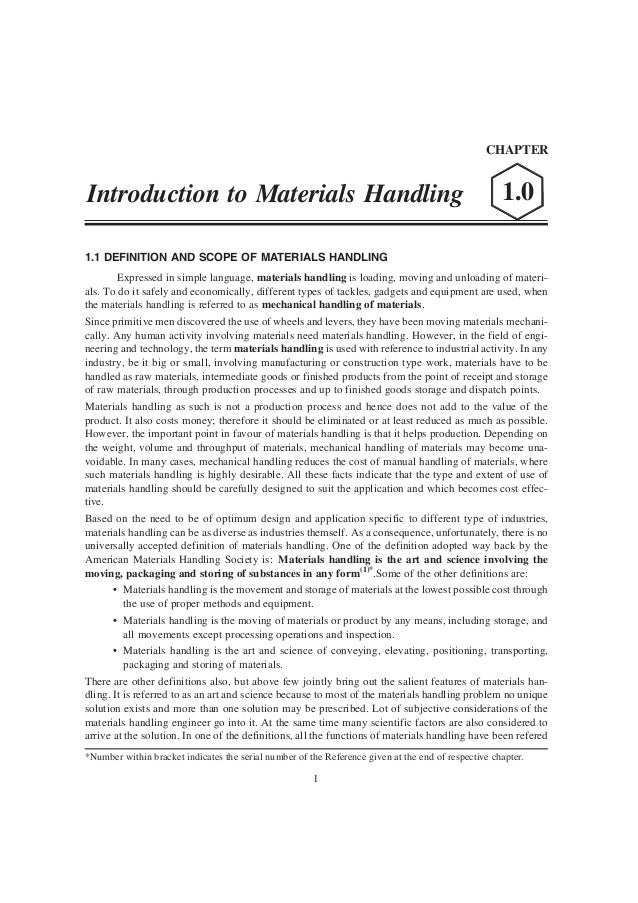 CHAPTERIntroduction to Materials Handling                                                                   1.01.1 DEFINIT...