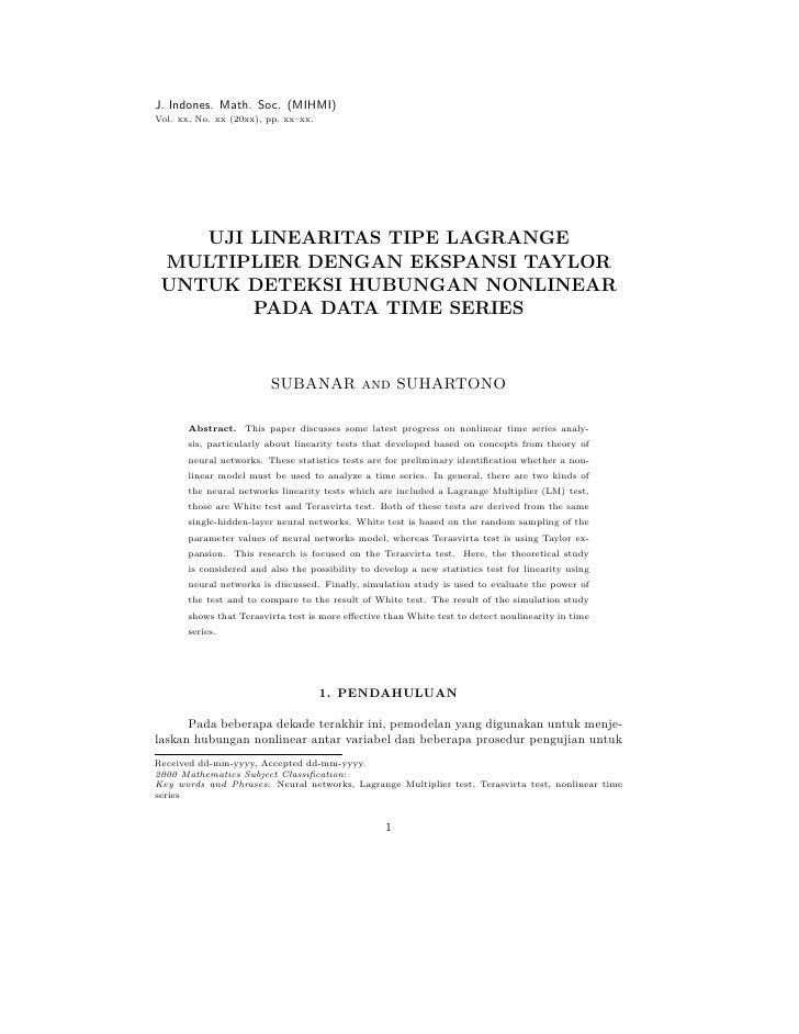 J. Indones. Math. Soc. (MIHMI) Vol. xx, No. xx (20xx), pp. xx–xx.         UJI LINEARITAS TIPE LAGRANGE  MULTIPLIER DENGAN ...