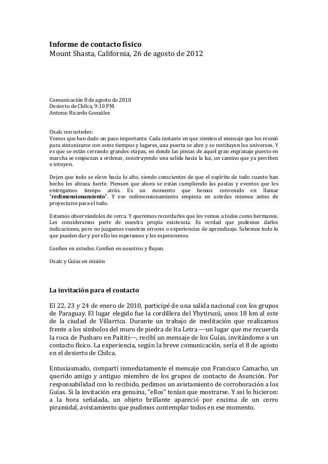 Informe de contacto físico Mount Shasta, California, 26 de agosto de 2012                       ...
