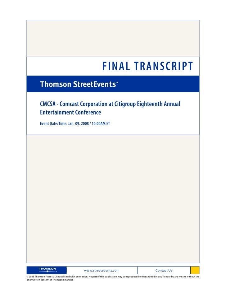 FINAL TRANSCRIPT              CMCSA - Comcast Corporation at Citigroup Eighteenth Annual             Entertainment Confere...