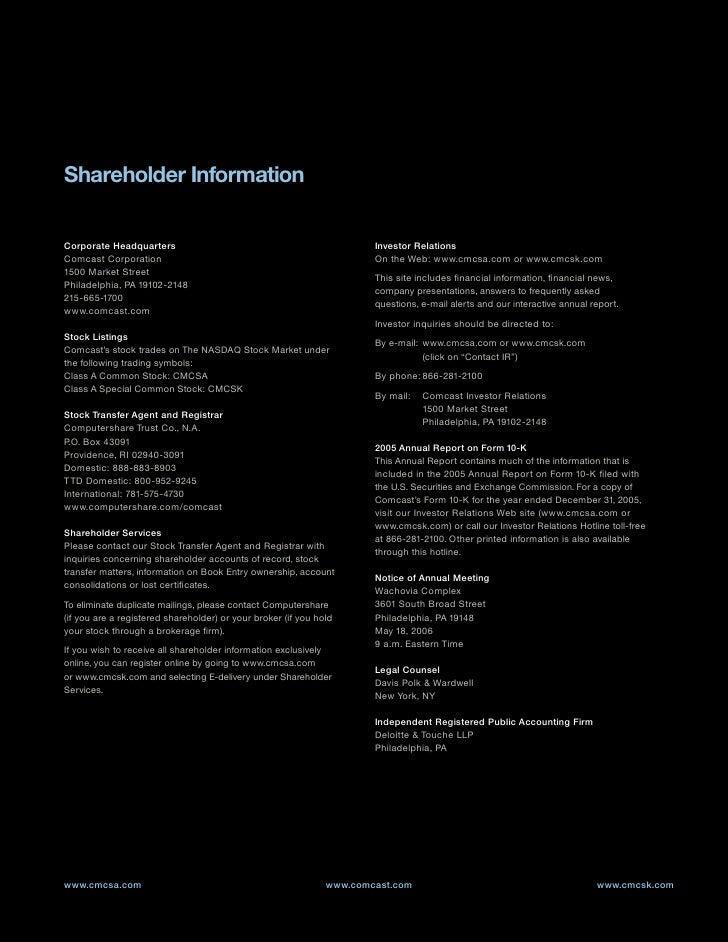 Shareholder Information  Corporate Headquarters                                                 Investor Relations Comcast...