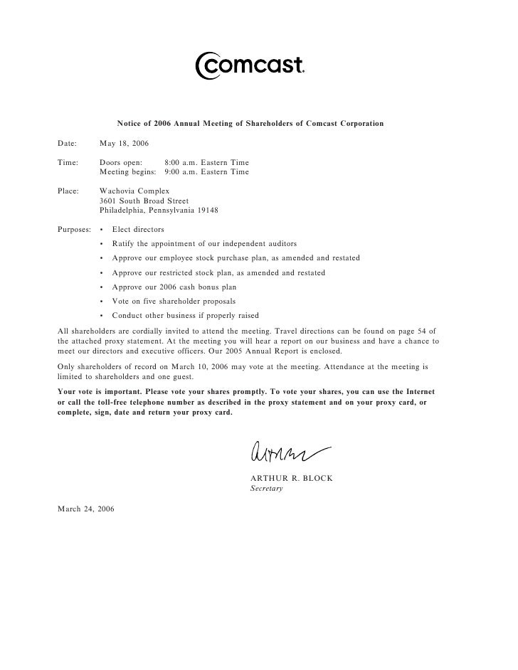 Notice of 2006 Annual Meeting of Shareholders of Comcast Corporation  Date:       May 18, 2006  Time:       Doors open:   ...