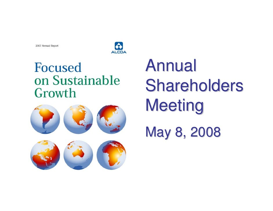 Annual Shareholders Meeting May 8, 2008