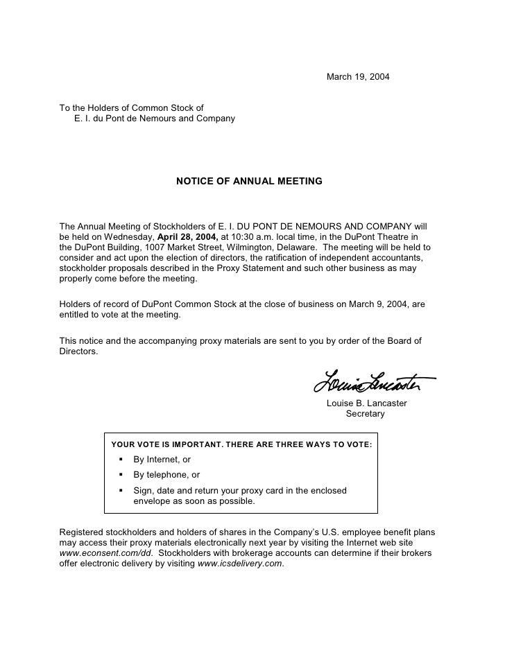 du pont 2004 Annual Meeting Proxy Statement - 웹