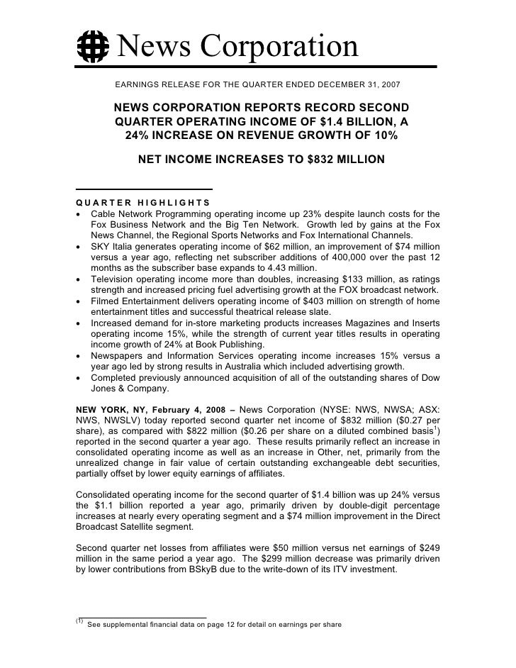 News Corporation               EARNINGS RELEASE FOR THE QUARTER ENDED DECEMBER 31, 2007               NEWS CORPORATION REP...