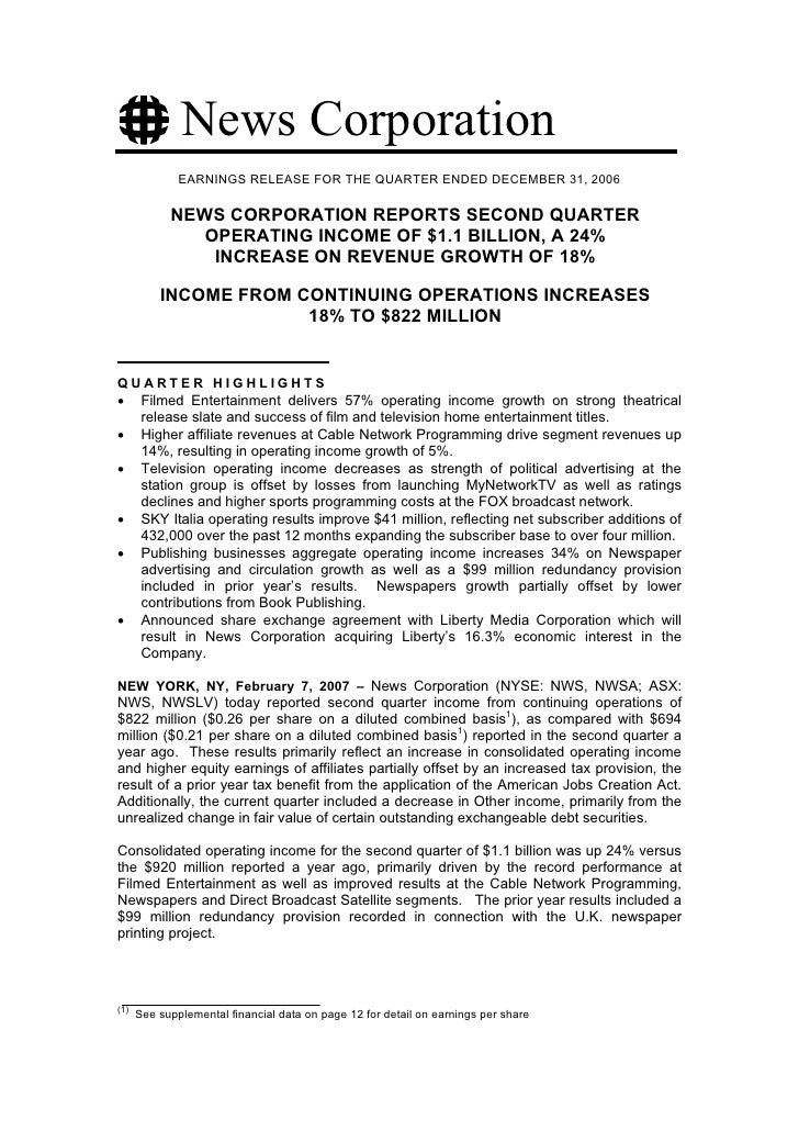 News Corporation               EARNINGS RELEASE FOR THE QUARTER ENDED DECEMBER 31, 2006              NEWS CORPORATION REPO...