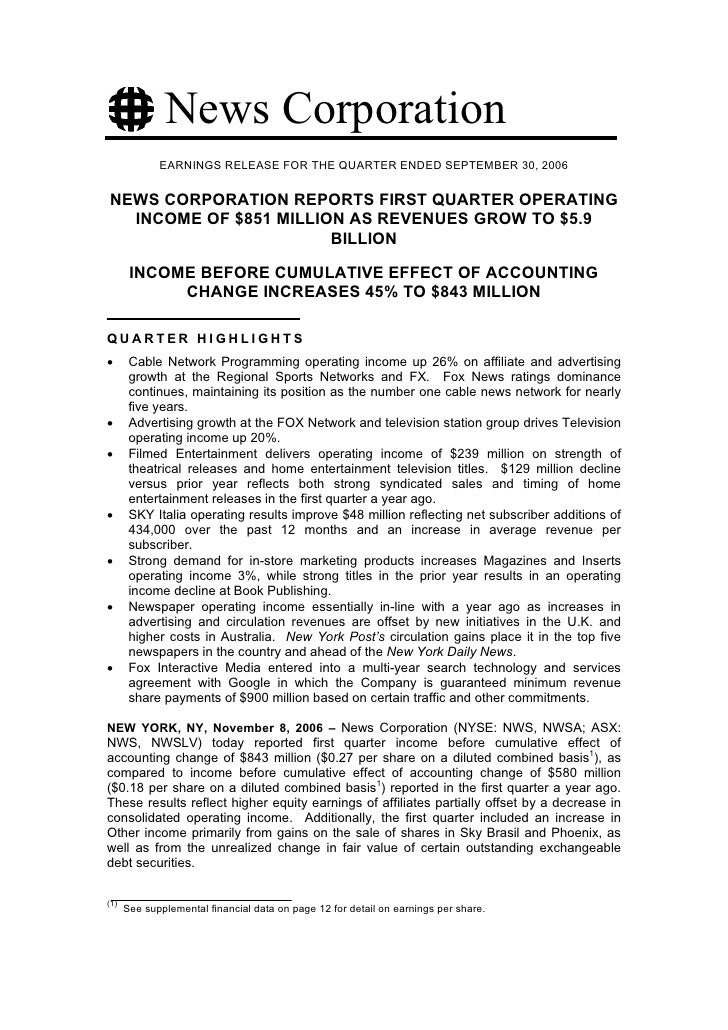 News Corporation              EARNINGS RELEASE FOR THE QUARTER ENDED SEPTEMBER 30, 2006   NEWS CORPORATION REPORTS FIRST Q...