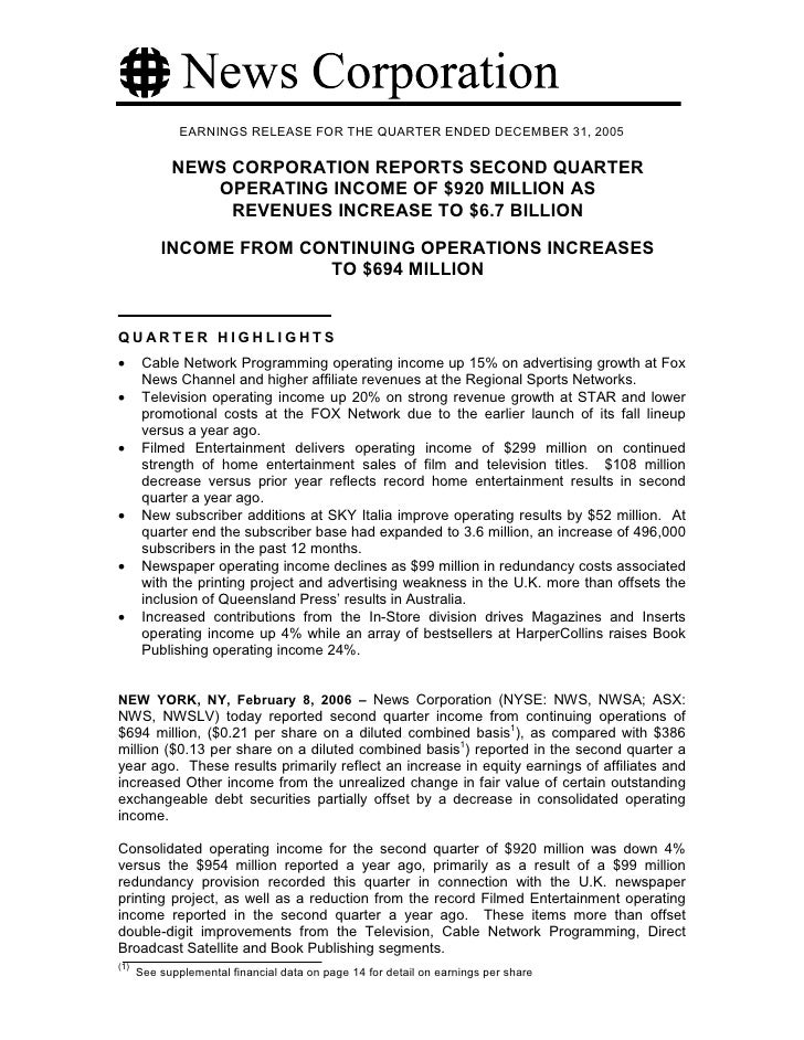 EARNINGS RELEASE FOR THE QUARTER ENDED DECEMBER 31, 2005              NEWS CORPORATION REPORTS SECOND QUARTER             ...