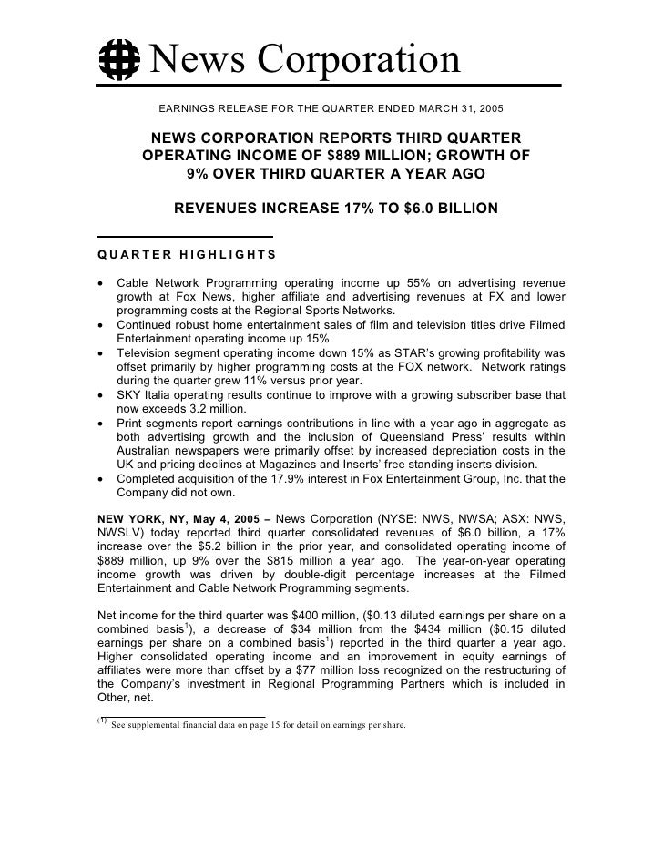 News Corporation                   EARNINGS RELEASE FOR THE QUARTER ENDED MARCH 31, 2005                NEWS CORPORATION R...