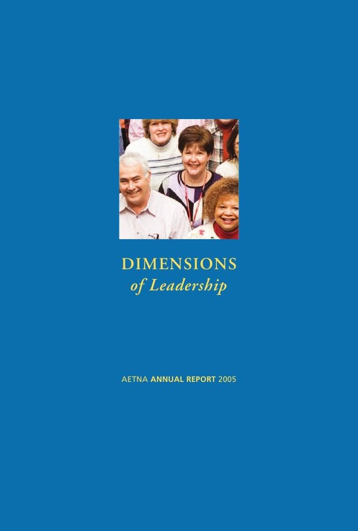 DIMENSIONS  of Leadership     AETNA ANNUAL REPORT 2005