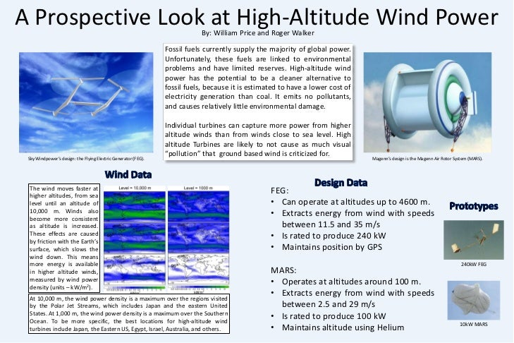 A Prospective Look at High-Altitude Wind Power<br />By: William Price and Roger Walker<br />Fossil fuels currently supply ...