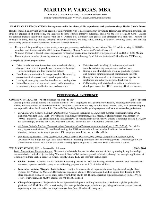 martin vargas healthcare innovation resume