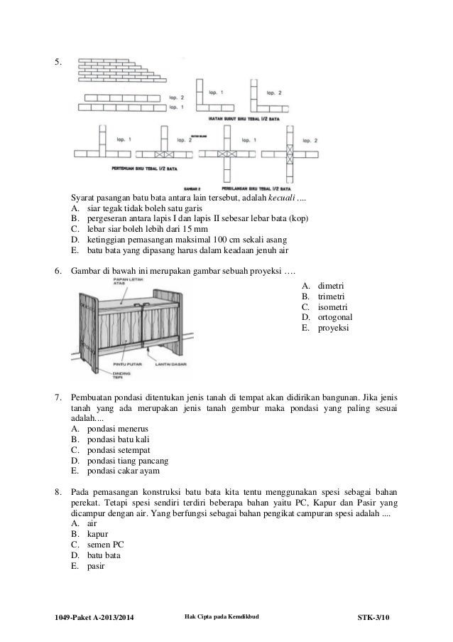 1049 stk-paket a-teknik konstruksi batu dan beton 2013-2014 Slide 3