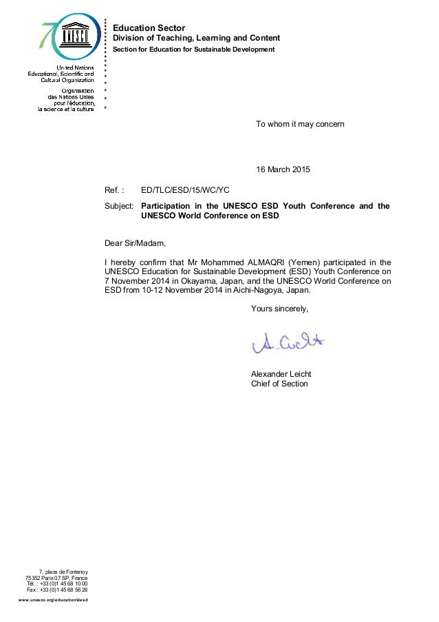 Confirmation Of Participation In Unesco Esd Conference