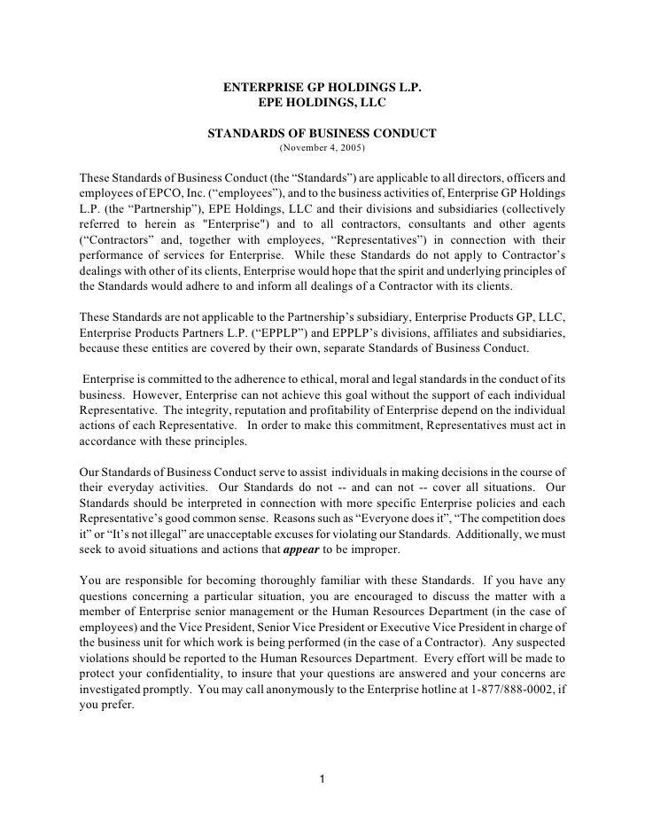 ENTERPRISE GP HOLDINGS L.P.                                   EPE HOLDINGS, LLC                            STANDARDS OF BU...