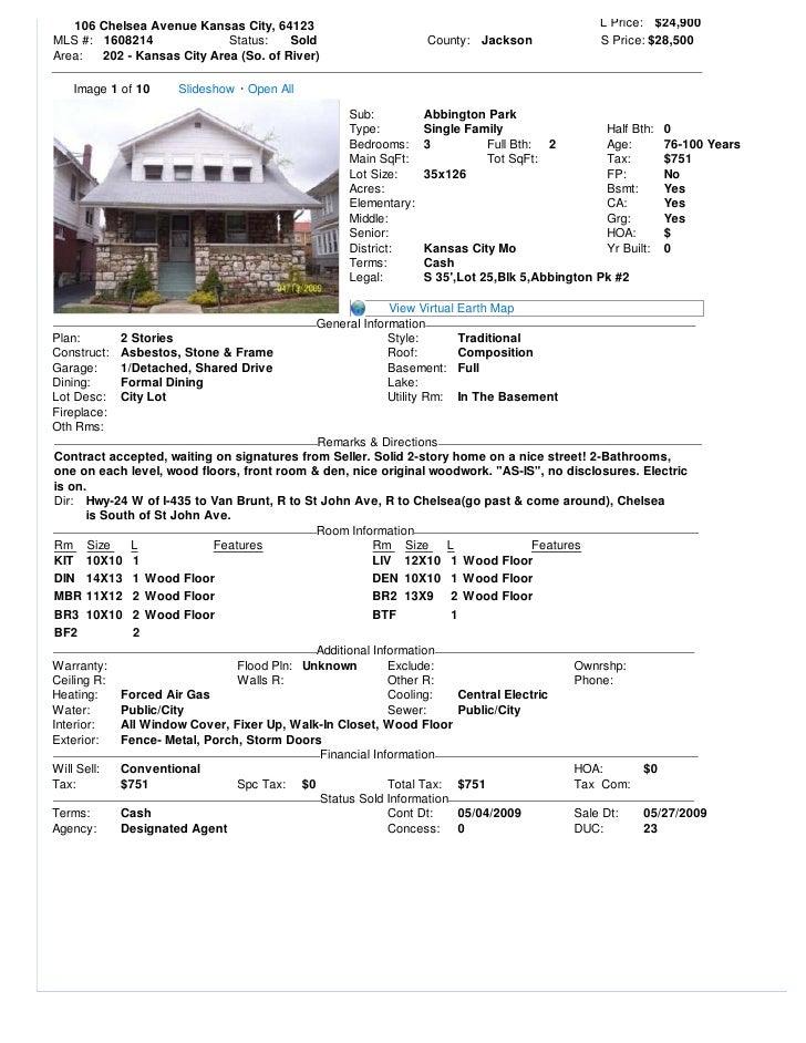 106 Chelsea Avenue Kansas City, 64123                                                     L Price: $24,900 MLS #: 1608214 ...