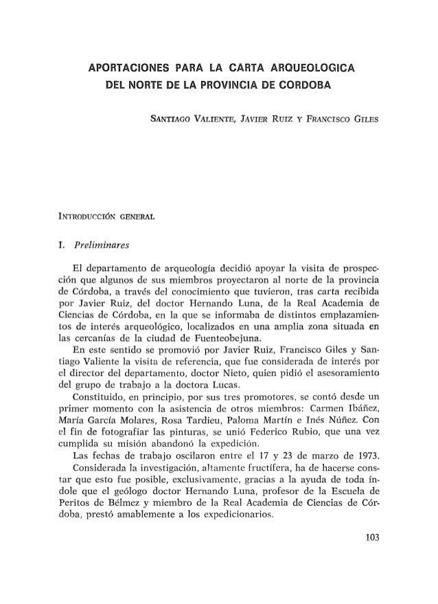 APORMCIONEWPARA LA CARTA ARQUEOLOGiCA DEL NORTE DE LA PROVBNCllA DE CORDBBA INTRODUCCI~NGENERAL 1. Preliminares El departa...