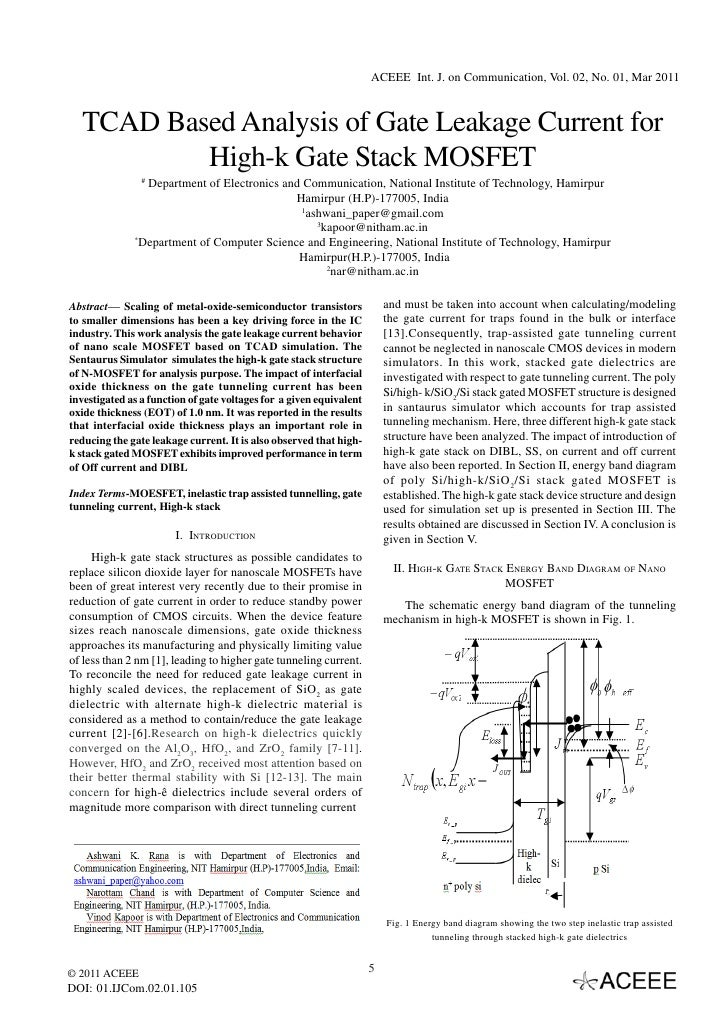 ACEEE Int. J. on Communication, Vol. 02, No. 01, Mar 2011  TCAD Based Analysis of Gate Leakage Current for          High-k...