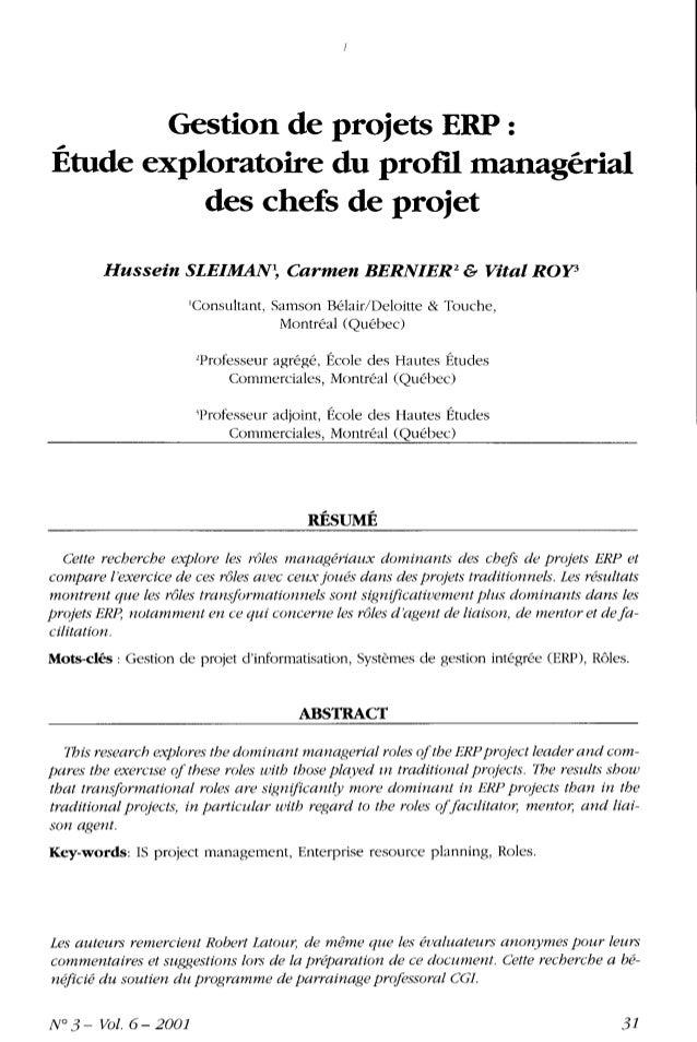 Gestion de projets ERP :Étude exploratoire du profil managerial          des chefs de projet        Hussein SLEIMAN , Carm...