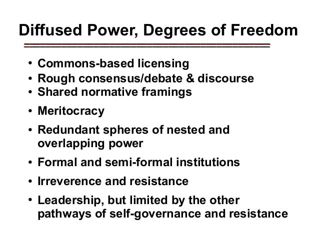 Peer cooperativism ● The core of Free Software (as opposed to Open Source) has been to build freedom into capabilities, un...
