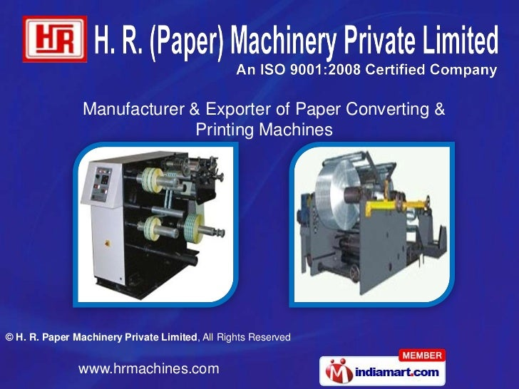 Manufacturer & Exporter of Paper Converting &                              Printing Machines© H. R. Paper Machinery Privat...