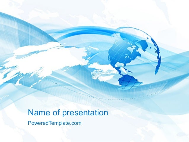blue waves globe powerpoint template