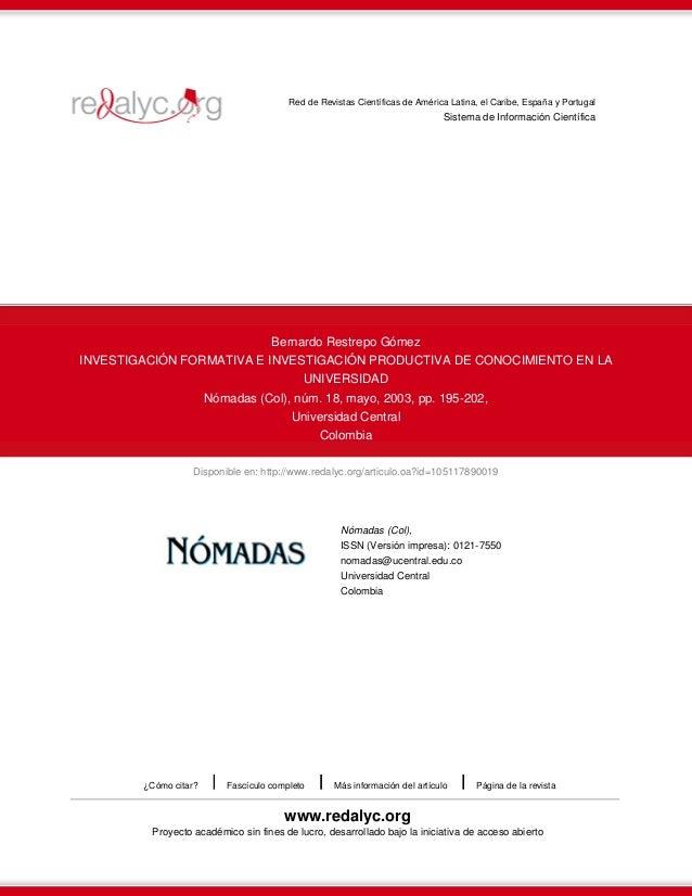 Red de Revistas Científicas de América Latina, el Caribe, España y Portugal  Sistema de Información Científica  Bernardo R...