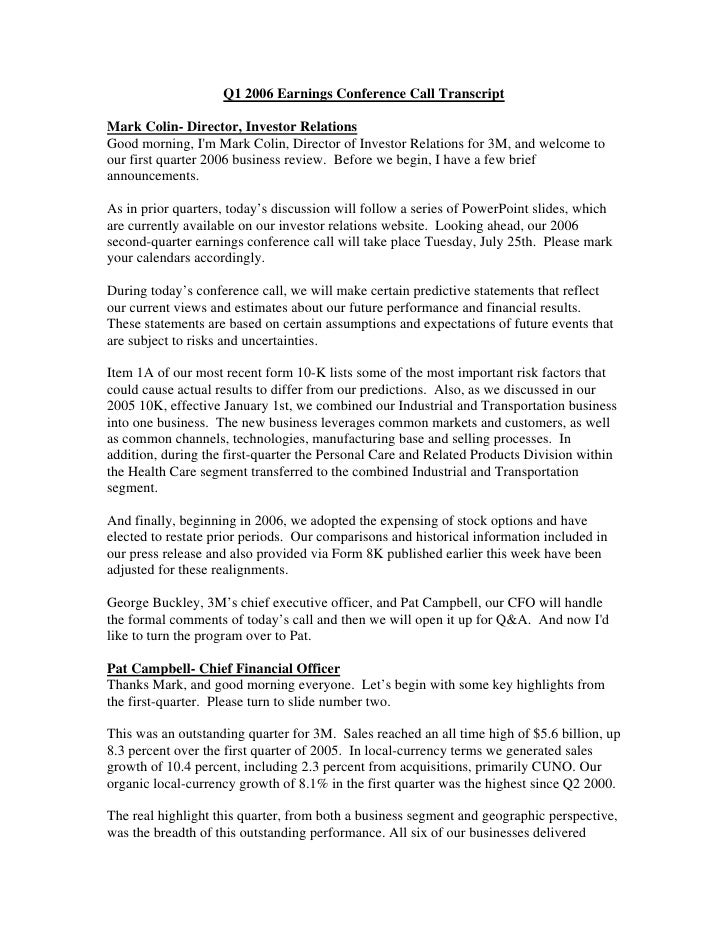 Q1 2006 Earnings Conference Call Transcript  Mark Colin- Director, Investor Relations Good morning, I'm Mark Colin, Direct...