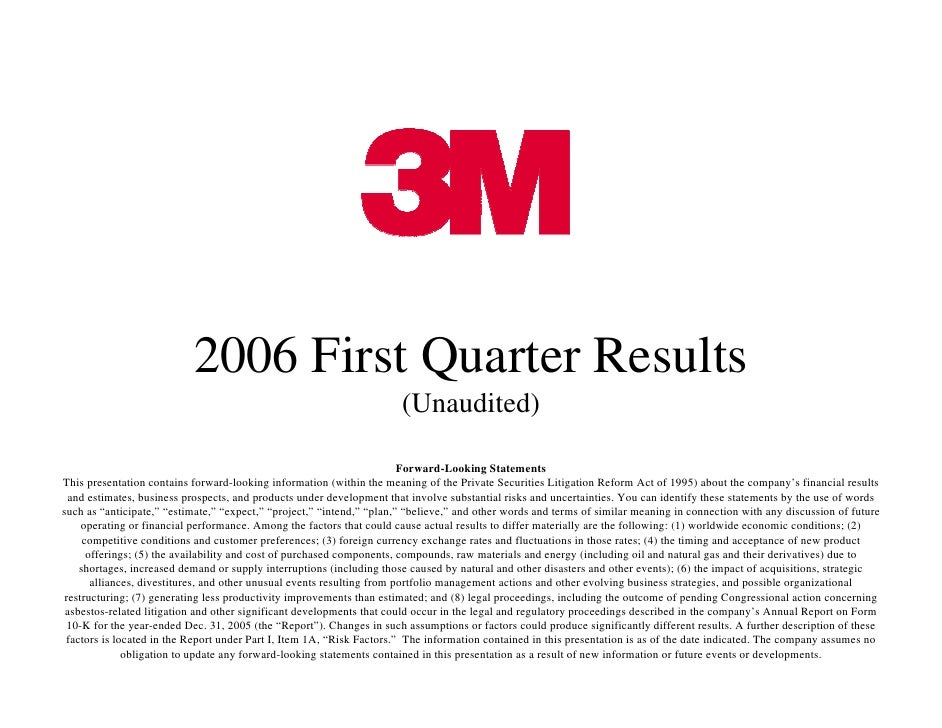 2006 First Quarter Results                                                                        (Unaudited)             ...