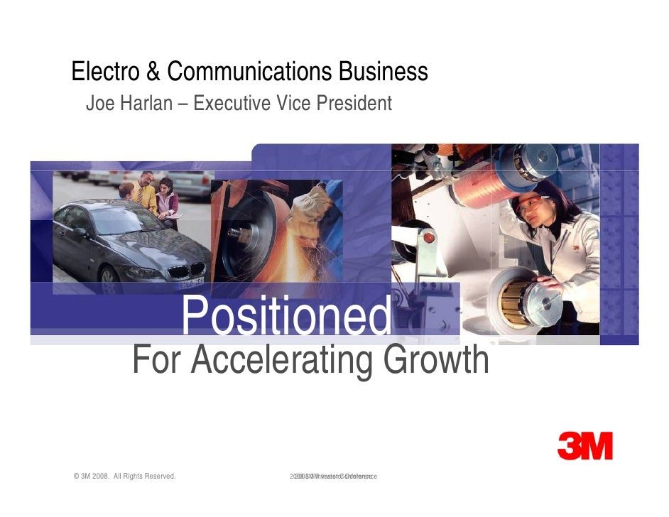 Electro & Communications Business    Joe Harlan – Executive Vice President                                       Positione...