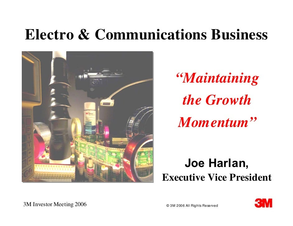 "Electro & Communications Business                                  ""Maintaining                                  the Growt..."