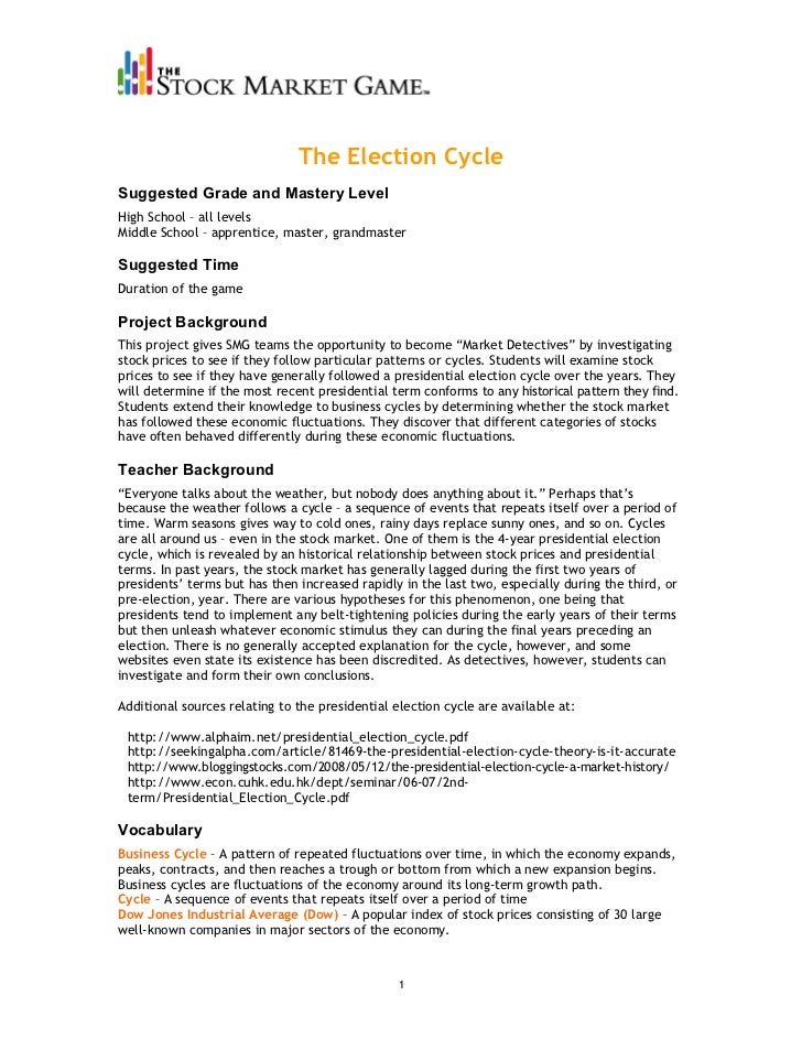 The Election CycleSuggested Grade and Mastery LevelHigh School – all levelsMiddle School – apprentice, master, grandmaster...