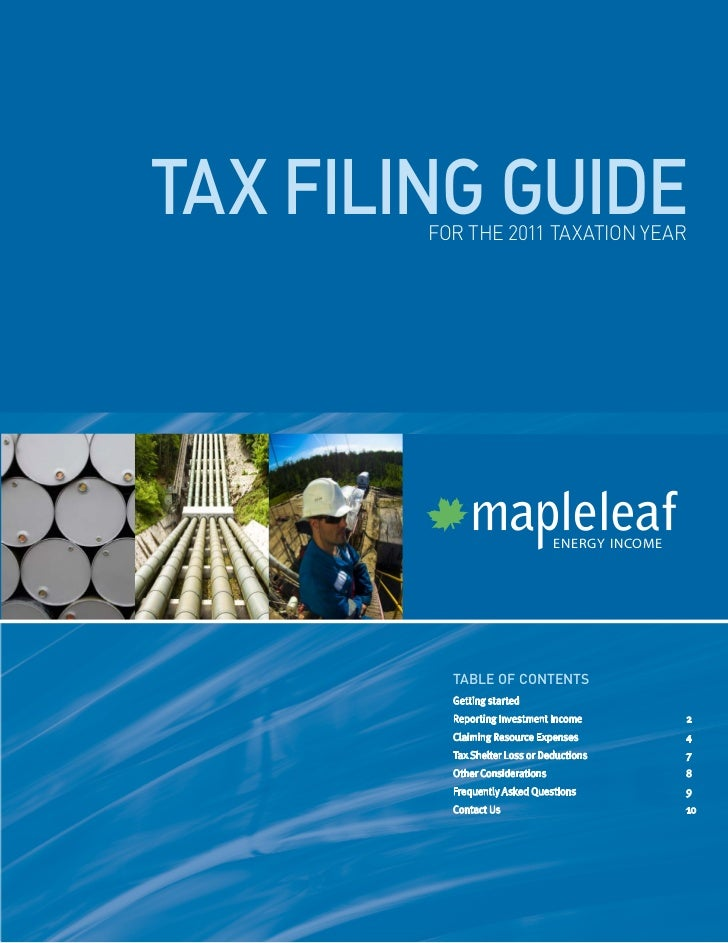 tax filing guide        for the 2011 taxation year                                  ENERGY INCOME          table of conten...