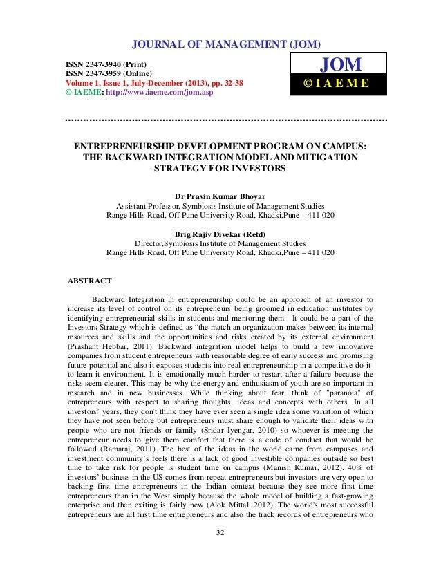 Journal of Management (JOM) ISSN 2347-3940 (Print), ISSN 2347 – 3959 (Online), Volume 1, Issue 1, July-December (2013) 32 ...