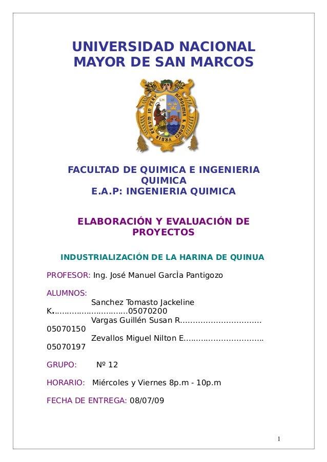 UNIVERSIDAD NACIONAL  MAYOR DE SAN MARCOS  FACULTAD DE QUIMICA E INGENIERIA  QUIMICA  E.A.P: INGENIERIA QUIMICA  ELABORACI...