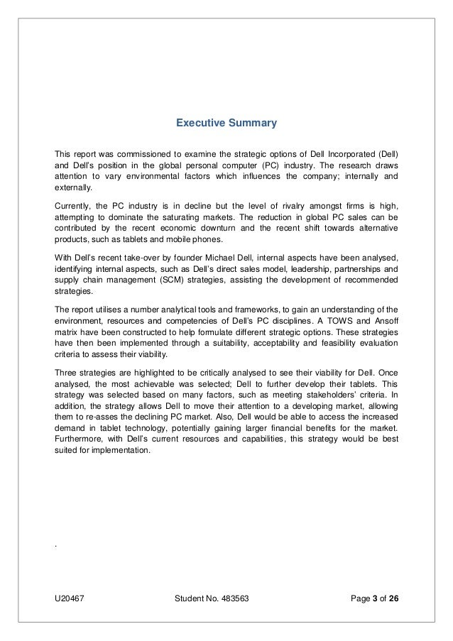 executive summary for dell computers Free essay: executive summary dell computer corporation was established in  1984 and today ranks among the world's largest computer.