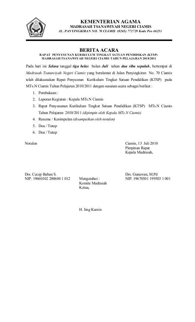 Berita Acara Rapat Komite Madrasah - Gue Viral